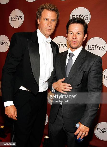 Actor Will Ferrell and actor Mark Wahlberg pose backstage at the 2010 ESPY Awards at Nokia Theatre LA Live on July 14 2010 in Los Angeles California