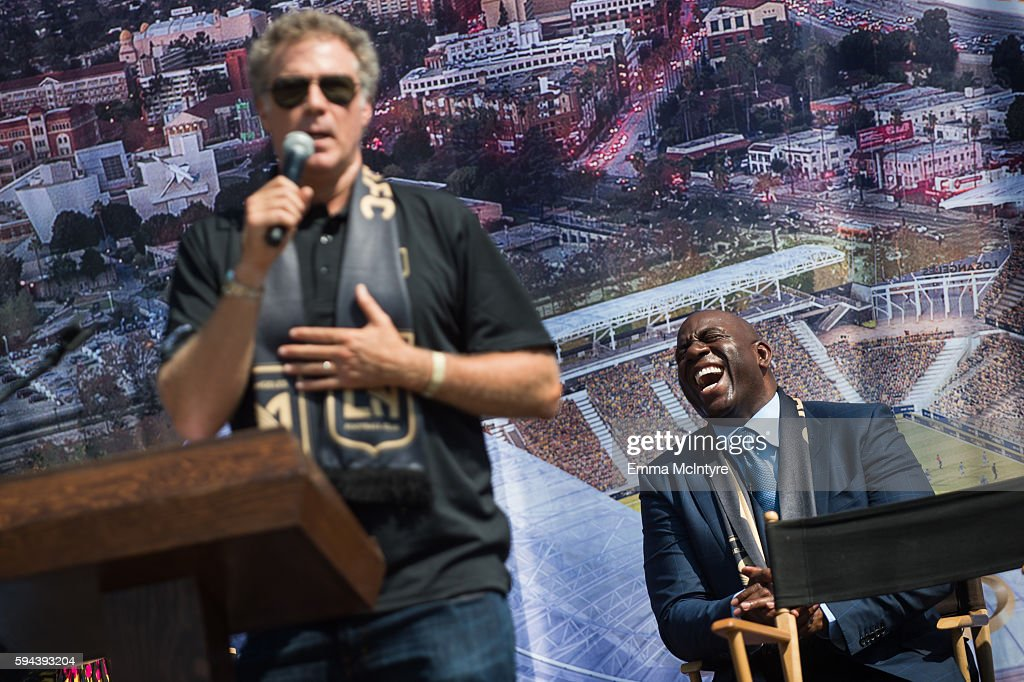 Actor Will Ferrell and former NBA player Earvin 'Magic' Johnson attend the Los Angeles Football Club stadium groundbreaking ceremony on August 23...