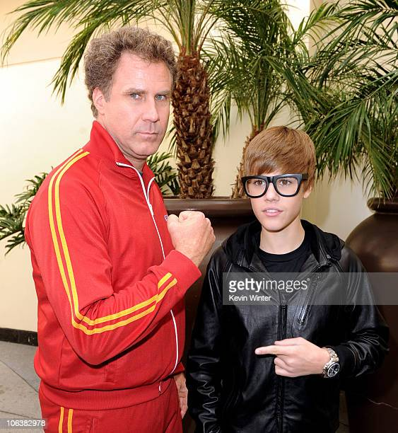 Actor Will Ferrell and singer Justin Bieber arrive at the premiere of DreamWorks Animation's 'Megamind' at Hollywood and Highland on October 30 2010...