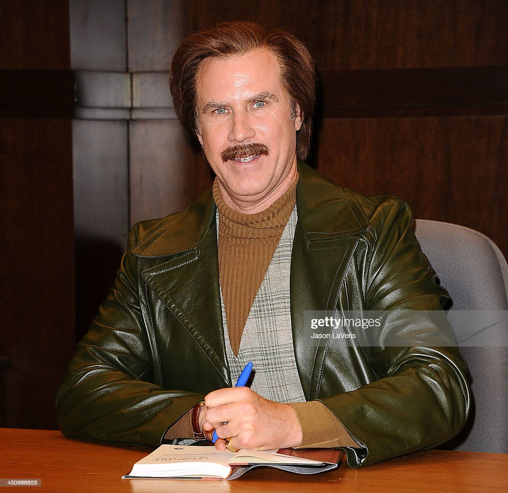 Actor Will Ferrell appears as his character Ron Burgundy to sign copies of 'Let Me Off At The Top My Classy Life And Other Musings' at Barnes Noble...
