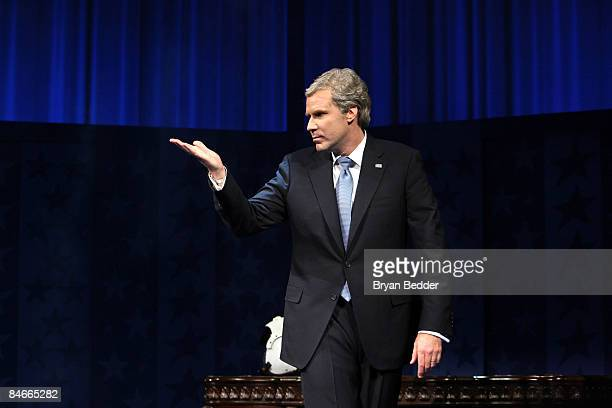 Actor Will Ferrell appears onstage during curtain call at the opening night of 'You're Welcome America A Final Night with George W Bush' at the Cort...