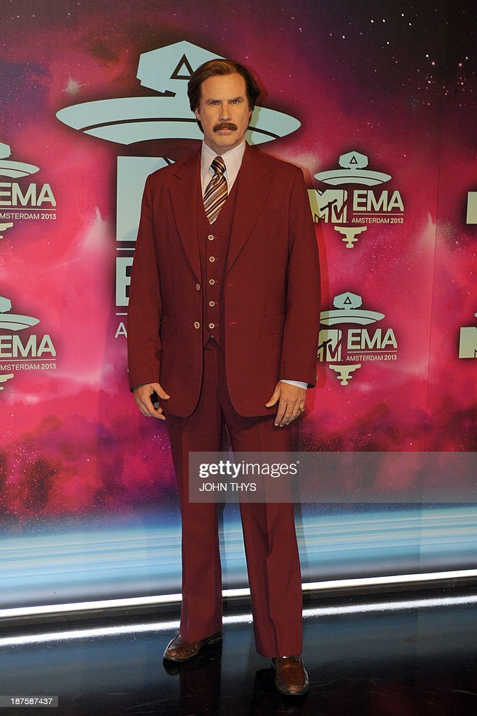 US actor Will Ferrell as Anchorman's Ron Burgundy poses as he arrives to attend the MTV European Music Awards 2013 at the Ziggo Dome on November 10...