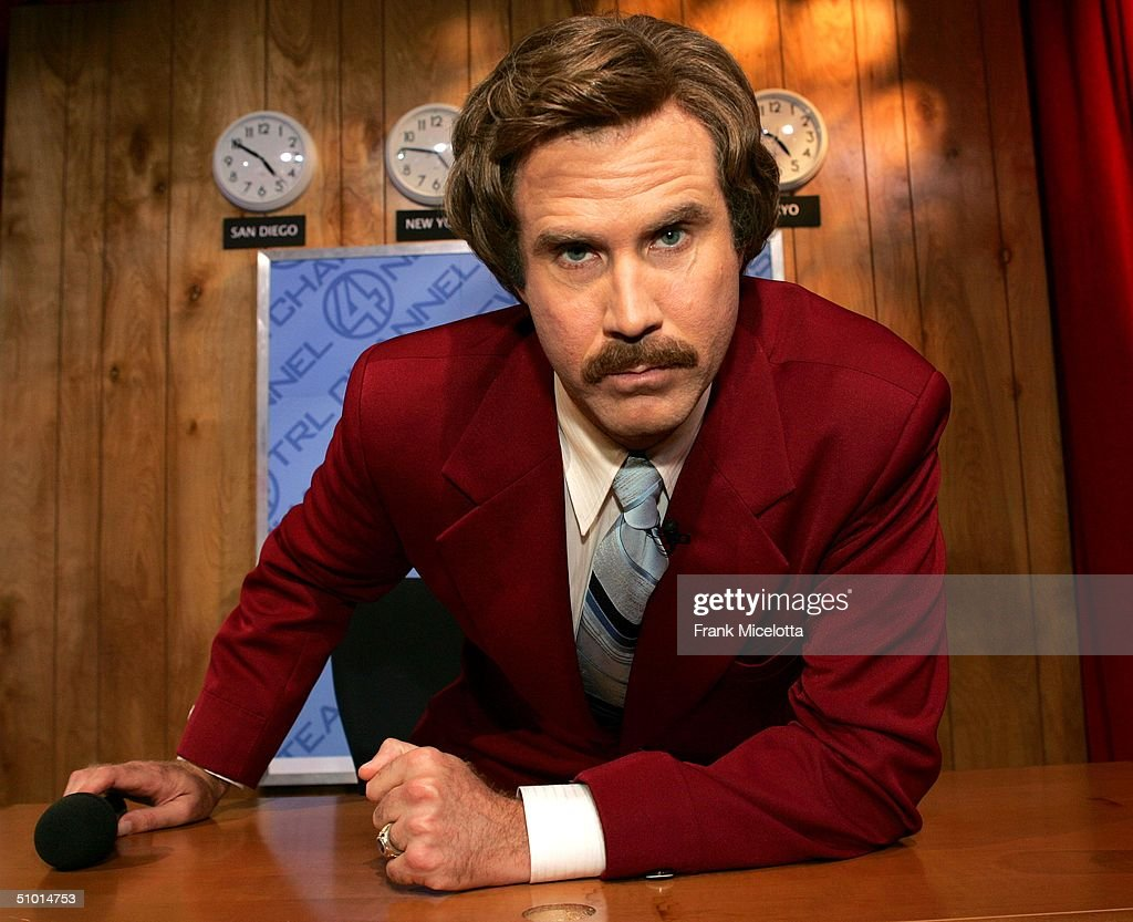 Actor Will Ferrell as 'Ron Burgundy' from his new film 'Anchorman' appears on stage during MTV TRL Times Square Film Festival Week at the MTV Times...