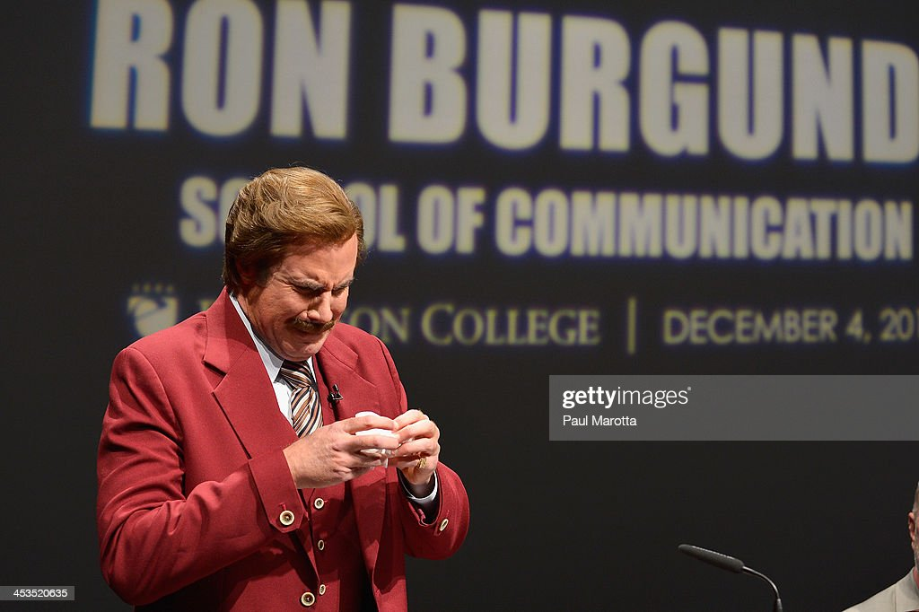 Actor Will Ferrell in character as Ron Burgundy is overcome with emotion as Emerson College renames the School of Communications the 'Ron Burgundy...