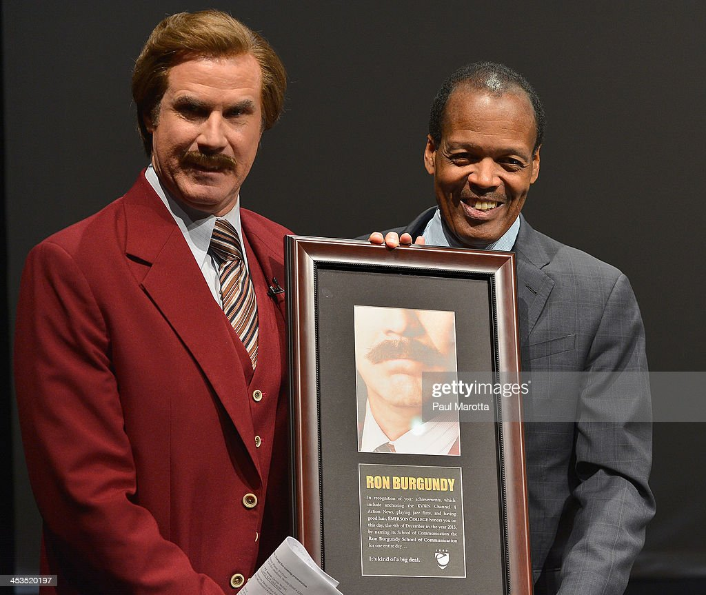 Actor Will Ferrell in character as Ron Burgundy is presented a plaque by Emerson College President Lee Pelton as Emerson College renames the School...