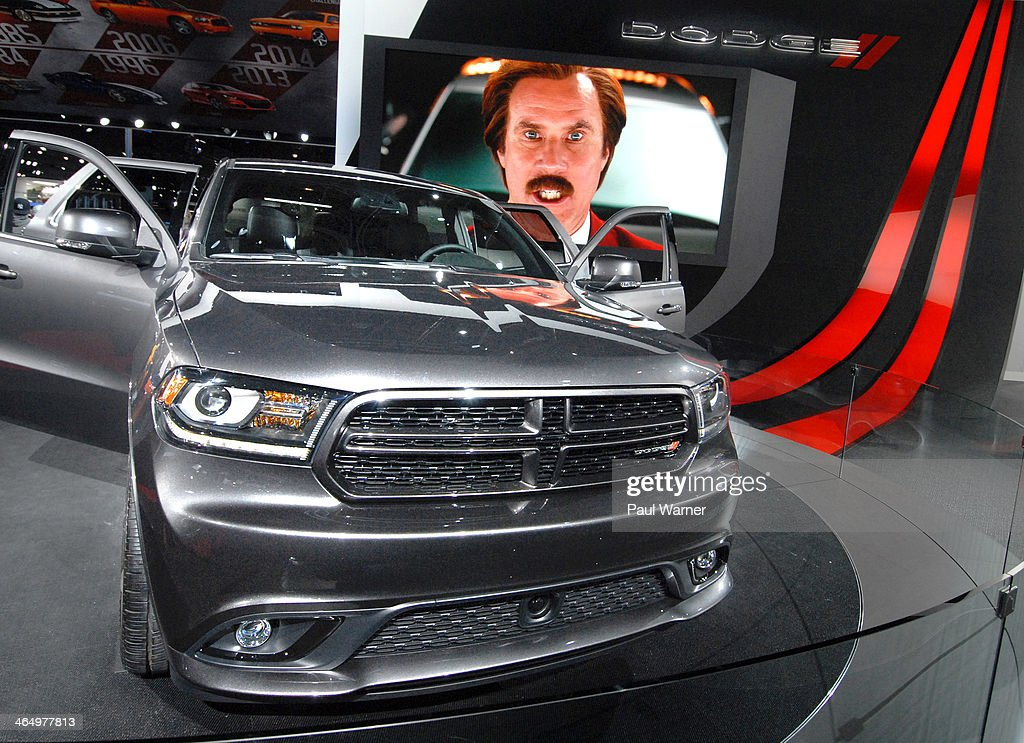 Actor Will Ferrell plays Ron Burgundy in a ad for the film Anchorman 2 and the Dodge Durango at Family Day at the North American International Auto...