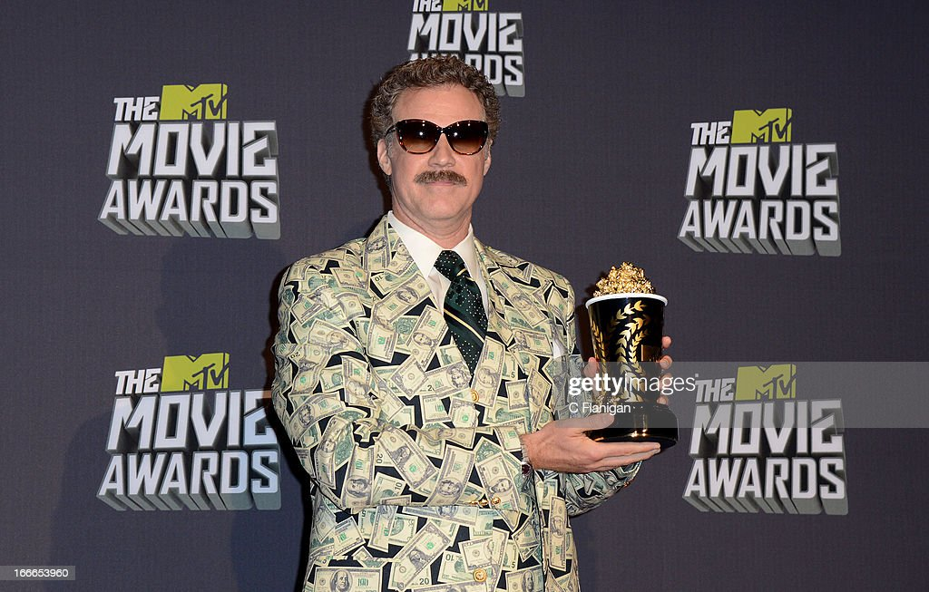 Actor <a gi-track='captionPersonalityLinkClicked' href=/galleries/search?phrase=Will+Ferrell&family=editorial&specificpeople=171995 ng-click='$event.stopPropagation()'>Will Ferrell</a> poses backstage during the 2013 MTV Movie Awards at Sony Pictures Studios on April 14, 2013 in Culver City, California.