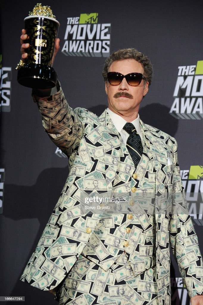Actor <a gi-track='captionPersonalityLinkClicked' href=/galleries/search?phrase=Will+Ferrell&family=editorial&specificpeople=171995 ng-click='$event.stopPropagation()'>Will Ferrell</a> poses in the press room during the 2013 MTV Movie Awards at Sony Pictures Studios on April 14, 2013 in Culver City, California.