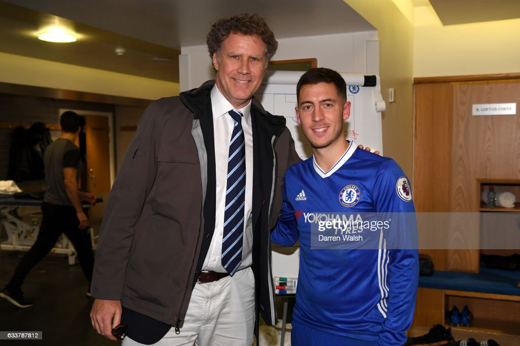 Actor Will Ferrell poses with Eden Hazard of Chelsea after the Premier League match between Chelsea and Arsenal at Stamford Bridge on February 4, 2017 in London, England.