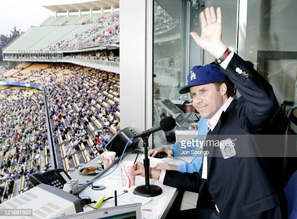 Actor Will Ferrell reads the Los Angeles Dodgers starting lineup prior to game vs Milwaukee Brewers Saturday May 6 2006 at Dodger Stadium in Los...