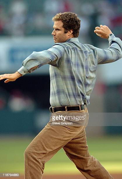 Actor Will Ferrell throws out the ceremonial first pitch prior to the start of the contest between the Chicago Cubs and the Anaheim Angels at Angel...