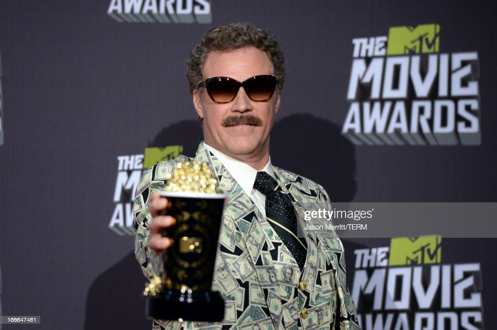 Actor <a gi-track='captionPersonalityLinkClicked' href=/galleries/search?phrase=Will+Ferrell&family=editorial&specificpeople=171995 ng-click='$event.stopPropagation()'>Will Ferrell</a>, winner of the Comedic Genius Award, poses in the press room during the 2013 MTV Movie Awards at Sony Pictures Studios on April 14, 2013 in Culver City, California.