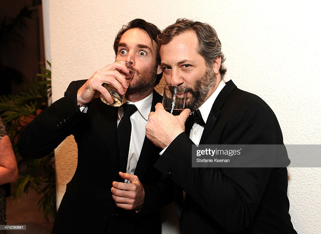 Actor <a gi-track='captionPersonalityLinkClicked' href=/galleries/search?phrase=Will+Forte&family=editorial&specificpeople=2155213 ng-click='$event.stopPropagation()'>Will Forte</a> (L) and director/writer <a gi-track='captionPersonalityLinkClicked' href=/galleries/search?phrase=Judd+Apatow&family=editorial&specificpeople=854225 ng-click='$event.stopPropagation()'>Judd Apatow</a> attend the 16th Costume Designers Guild Awards with presenting sponsor Lacoste at The Beverly Hilton Hotel on February 22, 2014 in Beverly Hills, California.