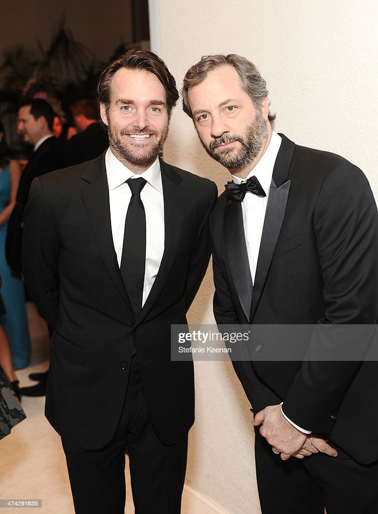 Actor Will Forte (L) and director/writer Judd Apatow attend the 16th Costume Designers Guild Awards with presenting sponsor Lacoste at The Beverly Hilton Hotel on February 22, 2014 in Beverly Hills, California.