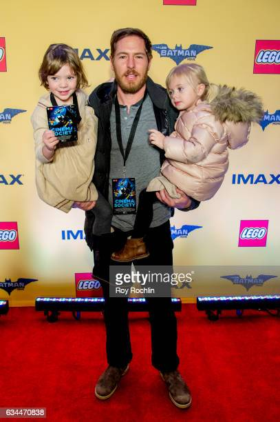 Actor Will Kopelman with Olive and Frankie Kopelman attend 'The Lego Batman Movie' New York Screening at AMC Loews Lincoln Square 13 on February 9...