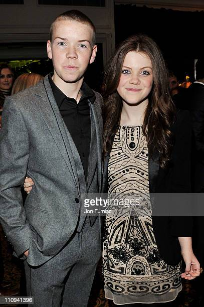 Actor Will Poulter and actress Georgie Henley attend The Jameson Empire Awards 2011 at The Grosvenor House Hotel on March 27 2011 in London England