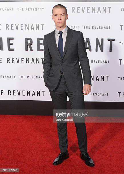 Actor Will Poulter arrives at the Los Angeles Premiere 'The Revenant' at TCL Chinese Theatre on December 16 2015 in Hollywood California