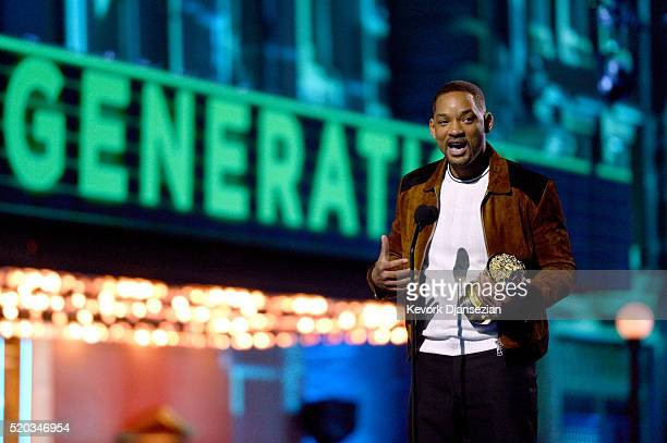 Actor Will Smith accepts the MTV Generation Award onstage during the 2016 MTV Movie Awards at Warner Bros Studios on April 9 2016 in Burbank...