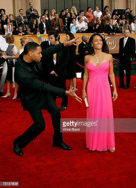 Actor Will Smith and actress Jada Pinkett Smith arrive at the 13th Annual Screen Actors Guild Awards held at the Shrine Auditorium on January 28 2007...