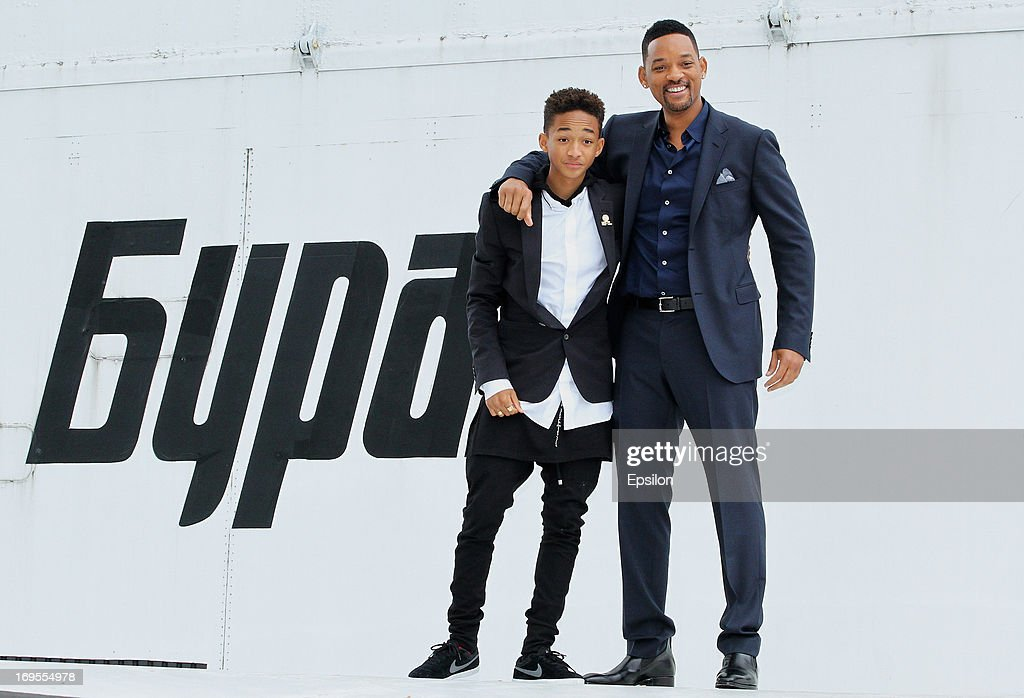 Actor <a gi-track='captionPersonalityLinkClicked' href=/galleries/search?phrase=Will+Smith&family=editorial&specificpeople=156403 ng-click='$event.stopPropagation()'>Will Smith</a> and his son <a gi-track='captionPersonalityLinkClicked' href=/galleries/search?phrase=Jaden+Smith&family=editorial&specificpeople=709174 ng-click='$event.stopPropagation()'>Jaden Smith</a> pose on the wing of Russian spacecraft Buran during the After Earth - Photocall in Gorky park on May 27, 2013 in Moscow, Russia.