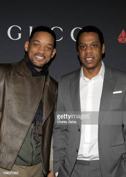Actor Will Smith and Rapper JayZ arrive at the Gucci and RocNation PreGRAMMY brunch held at Soho House on February 12 2011 in West Hollywood...