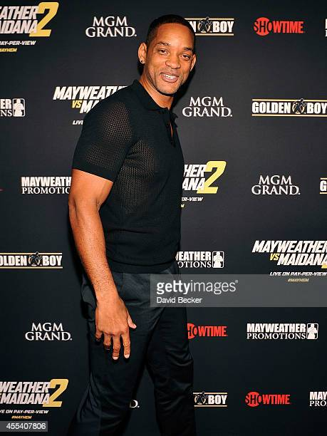 Actor Will Smith arrives at Showtime's VIP prefight party for 'Mayhem Mayweather vs Maidana 2' at the MGM Grand Garden Arena on September 13 2014 in...