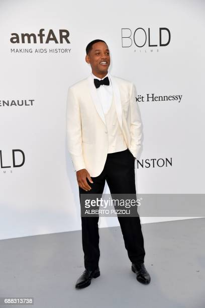 US actor Will Smith arrives for the amfAR's 24th Cinema Against AIDS Gala on May 25 2017 at the Hotel du CapEdenRoc in Cap d'Antibes France / AFP...