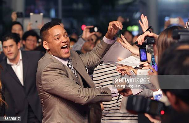 Actor Will Smith attends the 'After Earth' South Korea Premiere Time Square on May 7 2013 in Seoul South Korea Will Smith and Jaden Smith are...
