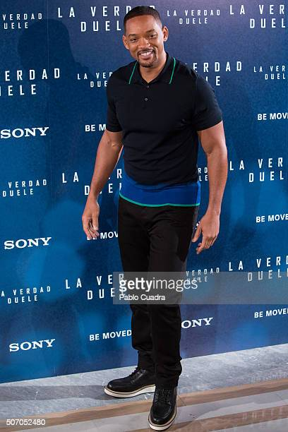 Actor Will Smith attends the Concussion photocall at the Villa Magna hotel on January 27 2016 in Madrid Spain