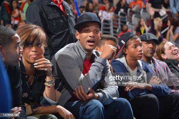 Actor Will Smith attends the game between the New Jersey Nets and the Philadelphia 76ers on April 13 2012 at the Wells Fargo Center in Philadelphia...