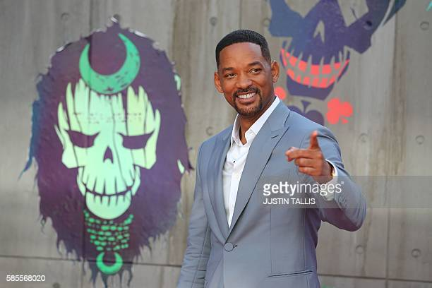 US actor Will Smith poses as he arrives to attend the European premiere of the film Suicide Squad in central London on August 3 2016 / AFP / JUSTIN...