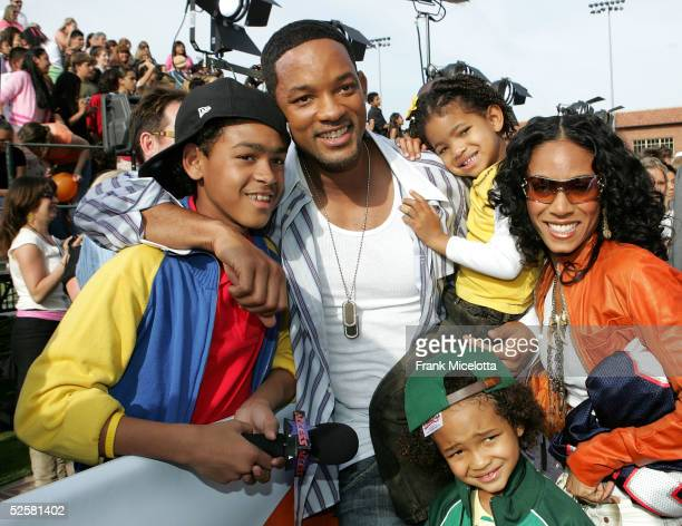 Actor Will Smith poses with family member Kyle Smith and wife Jada Pinkett Smith at the 18th Annual Kids Choice Awards at UCLA's Pauley Pavillion on...