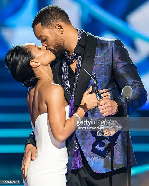 Actor Will Smith presents his wife actress Jada Pinkett Smith with the Star Power award onstage during 2015 'Black Girls Rock' BET Special at NJ...
