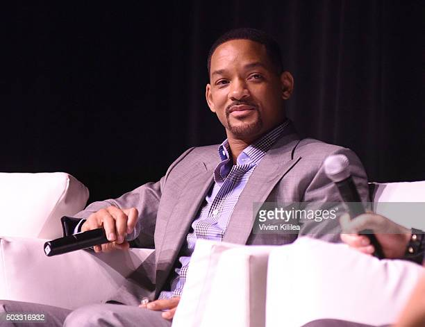 Actor Will Smith speaks at a screening of 'Concussion' at the 27th Annual Palm Springs International Film Festival on January 3 2016 in Palm Springs...