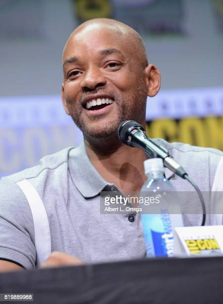 Actor Will Smith speaks onstage at Netflix Films 'Bright' and 'Death Note' panel during ComicCon International 2017 at San Diego Convention Center on...