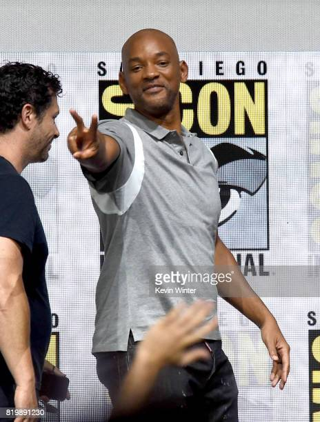Actor Will Smith walks offstage at Netflix Films 'Bright' and 'Death Note' panel during ComicCon International 2017 at San Diego Convention Center on...