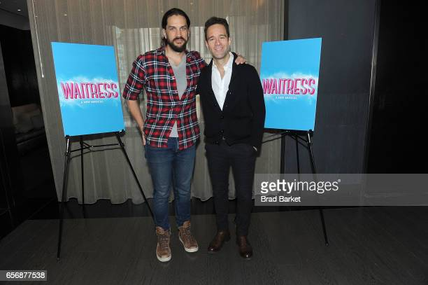 Actor Will Swenson and Chirs Diamantopoulos attend the 'Waitress' New Cast Meet Greet at St Cloud at the Knickerbocker Hotel on March 23 2017 in New...