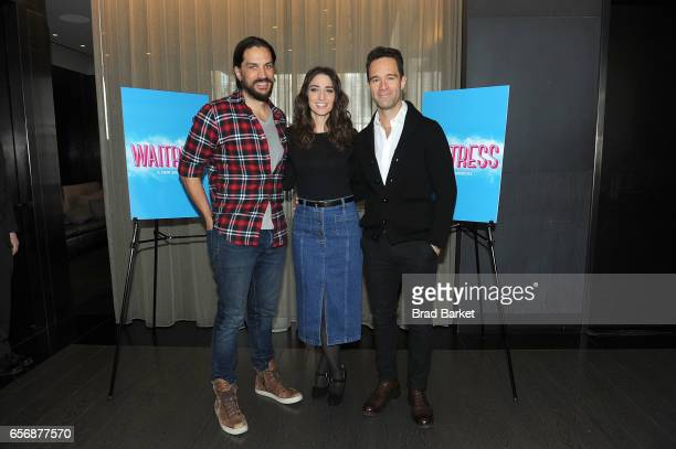 Actor Will Swenson Sara Bareilles and Chirs Diamantopoulos attend the 'Waitress' New Cast Meet Greet at St Cloud at the Knickerbocker Hotel on March...