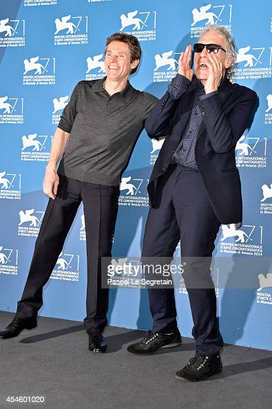 Actor Willem Dafoe and director Abel Ferrara attend the 'Pasolini' photocall at the Palazzo Del Cinema during the 71st Venice Film Festival on...