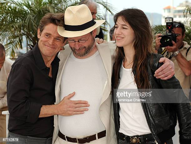 Actor Willem Dafoe director Lars von Trier and actress Charlotte Gainsbourg attend the 'Antichrist' photo call at the Palais des Festivals during the...