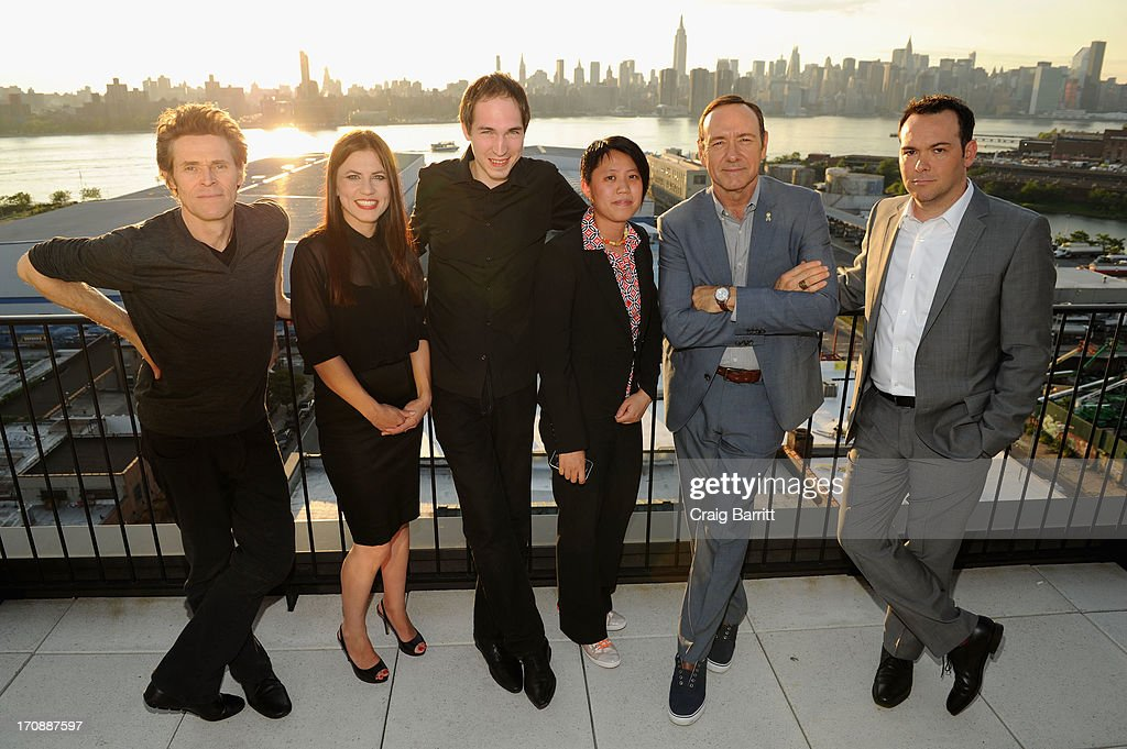 Actor <a gi-track='captionPersonalityLinkClicked' href=/galleries/search?phrase=Willem+Dafoe&family=editorial&specificpeople=203171 ng-click='$event.stopPropagation()'>Willem Dafoe</a>, Hanneke Schutte, Anton Lanshakov, Shirlyn Wong, actor <a gi-track='captionPersonalityLinkClicked' href=/galleries/search?phrase=Kevin+Spacey&family=editorial&specificpeople=202091 ng-click='$event.stopPropagation()'>Kevin Spacey</a> and producer <a gi-track='captionPersonalityLinkClicked' href=/galleries/search?phrase=Dana+Brunetti&family=editorial&specificpeople=566513 ng-click='$event.stopPropagation()'>Dana Brunetti</a> attend the premiere of Love's Routine, the winning US film from the Trigger Street Productions Presents Jameson First Shot competition at the Wythe Hotel on June 19, 2013 in Brooklyn, New York.