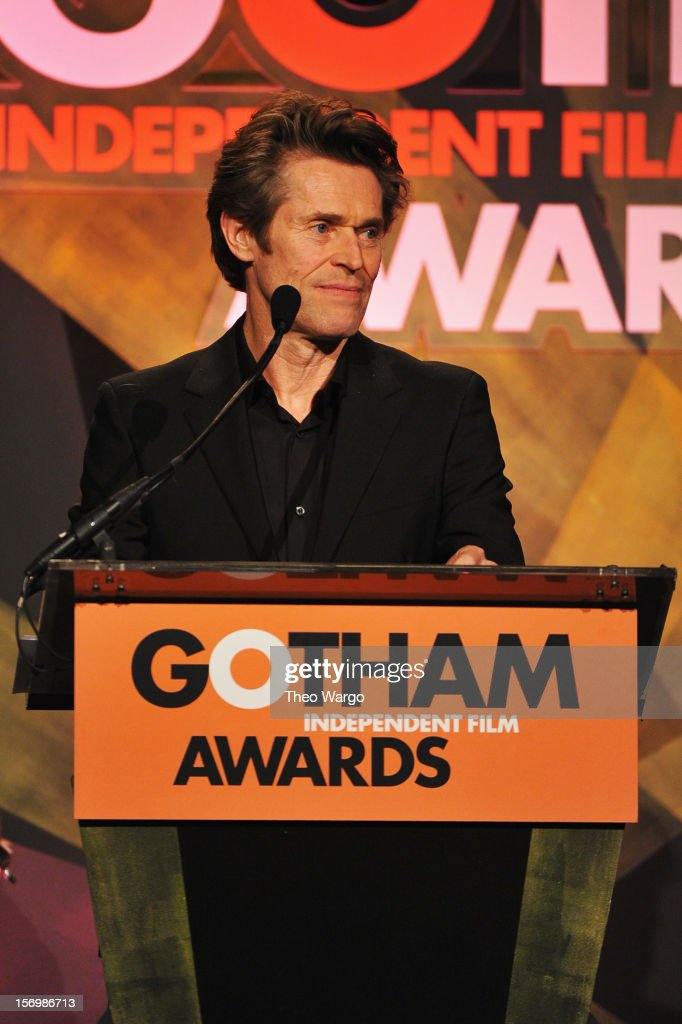 Actor <a gi-track='captionPersonalityLinkClicked' href=/galleries/search?phrase=Willem+Dafoe&family=editorial&specificpeople=203171 ng-click='$event.stopPropagation()'>Willem Dafoe</a> speaks onstage at the IFP's 22nd Annual Gotham Independent Film Awards at Cipriani Wall Street on November 26, 2012 in New York City.