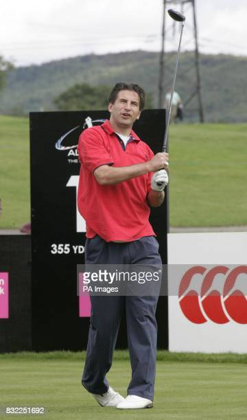 Actor William Baldwin of Team America tees off during the Northern Rock All Star Cup held at the Celtic Manor Resort The Usk valley south Wales