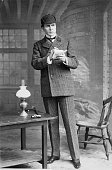 Actor William Gillette playing the detective Sherlock Holmes