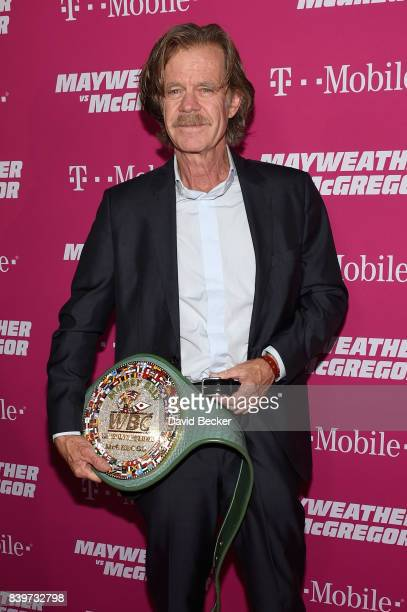 Actor William H Macy poses with the WBC Money Belt on TMobile's magenta carpet duirng the Showtime WME IME and Mayweather Promotions VIP PreFight...