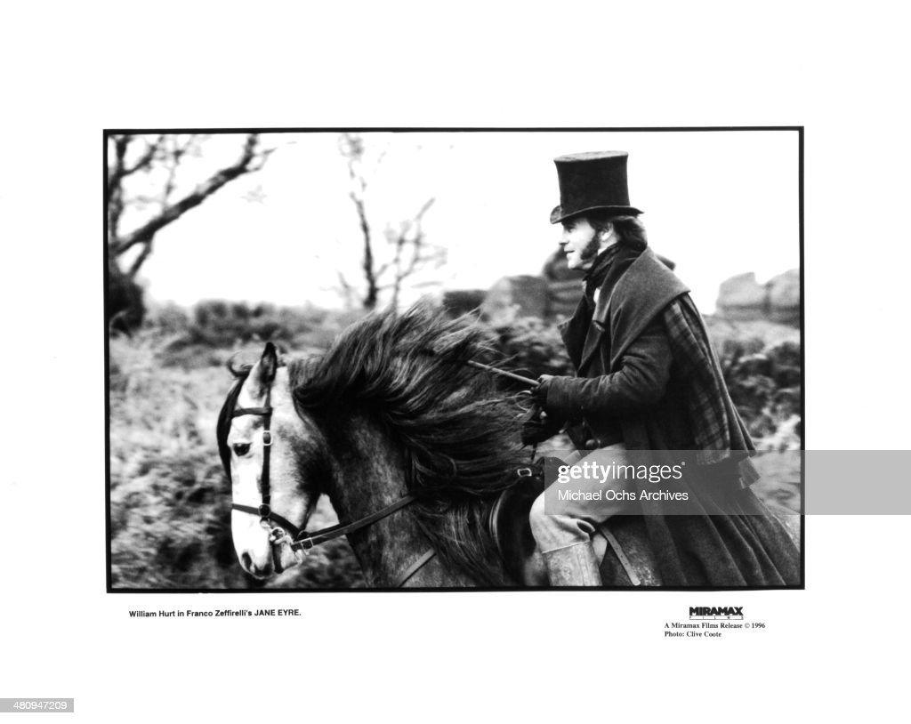 Actor William Hurt rides a horse in a scene from the movie 'Jane Eyre', circa 1996.