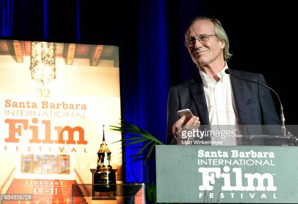 Actor William Hurt speaks onstage at the Montecito Award during the 32nd Santa Barbara International Film Festival at the Arlington Theatre on...