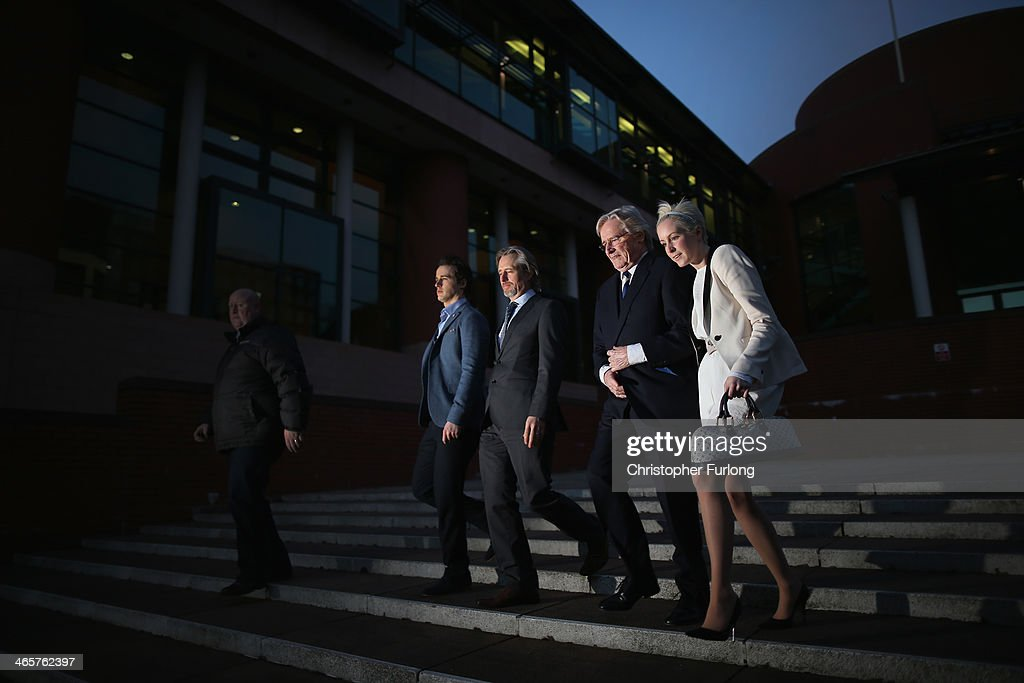 Actor William Roache (2nd R) leaves Preston Crown Court with his children (L-R) James Roache, Linus Roache and Verity Roache after the 11th day of his trial over historical sexual offence allegations on January 29, 2014 in Preston, Lancashire. The Coronation Street star, who plays the character Ken Barlow on the ITV soap, is charged with two rape and four indecent assault allegations which relate to incidents between 1965 and 1971.