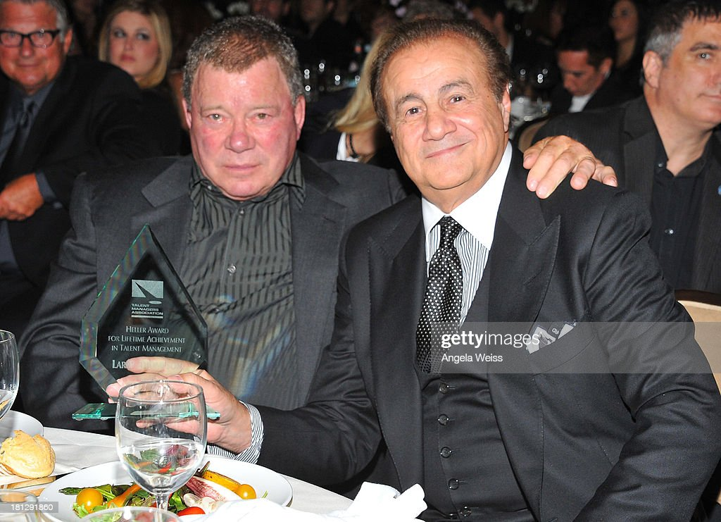 Actor William Shatner and talent manager Larry Thompson attend the 12th Annual Heller Awards at The Beverly Hilton Hotel on September 19, 2013 in Beverly Hills, California.