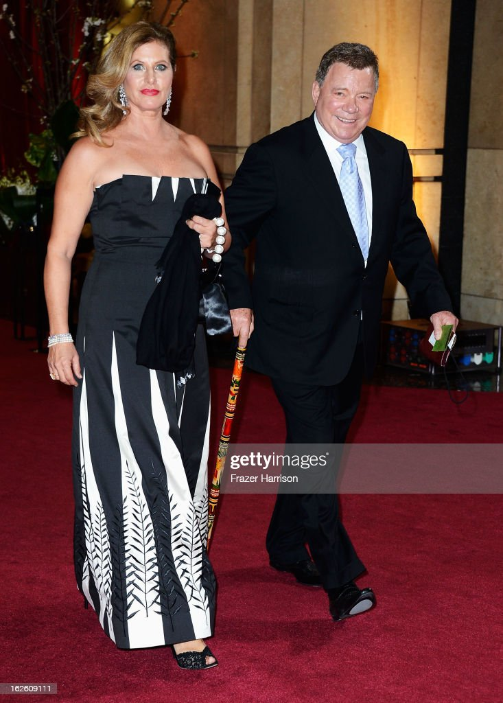 Actor William Shatner (R) and wife Elizabeth Shatner depart the Oscars at Hollywood & Highland Center on February 24, 2013 in Hollywood, California.